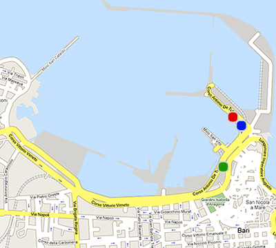 Port Map Bari, Patras, Igoumenitsa, Corfu - Blue Star Ferries