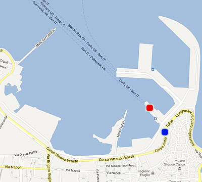 Port Map Bari, Patras, Igoumenitsa, Corfu - Superfast Ferries