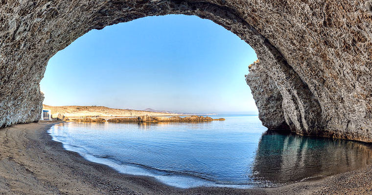 Beach of Alogomandra in Milos Cyclades